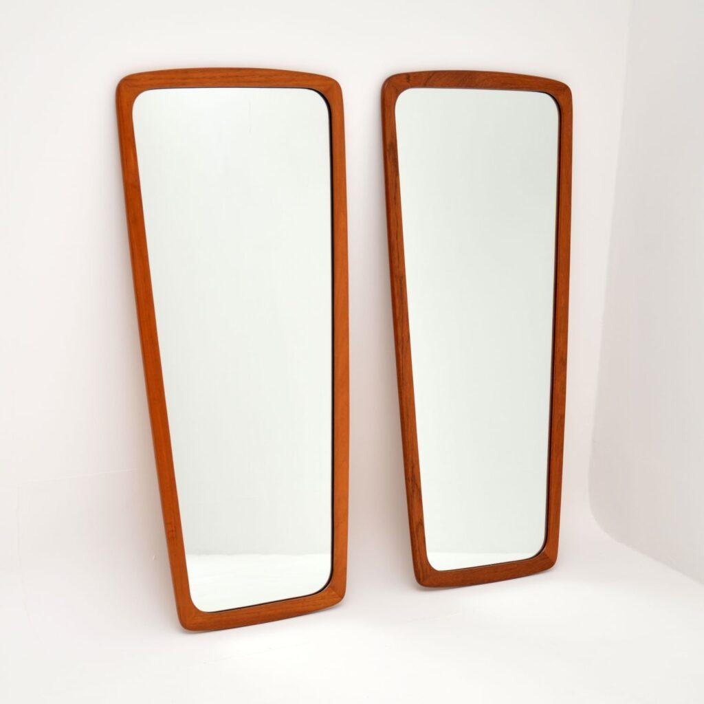 pair of danish retro vintage teak wall mirrors