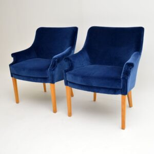 pair of original howard keith hk vintage retro armchairs