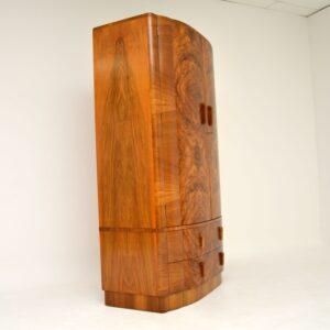 art deco figured walnut antique vintage wardrobe