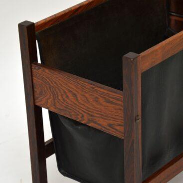 Danish Rosewood & Leather Magazine / Paper Holder