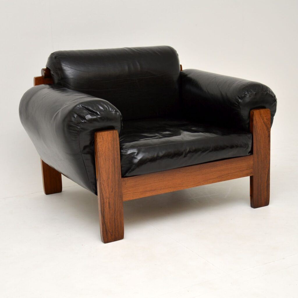 danish retro vintage leather rosewood armchair