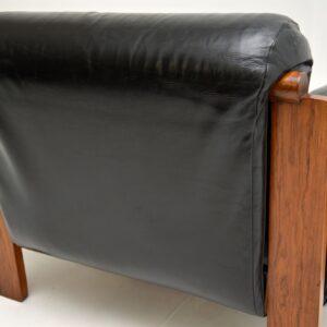 1960's Danish Vintage Leather & Rosewood Armchair