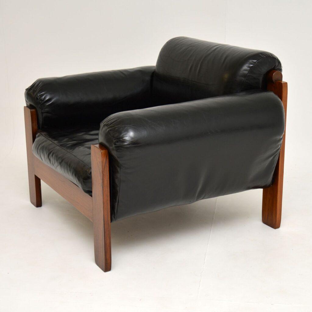 danish retro vintage leather rosewood armchair