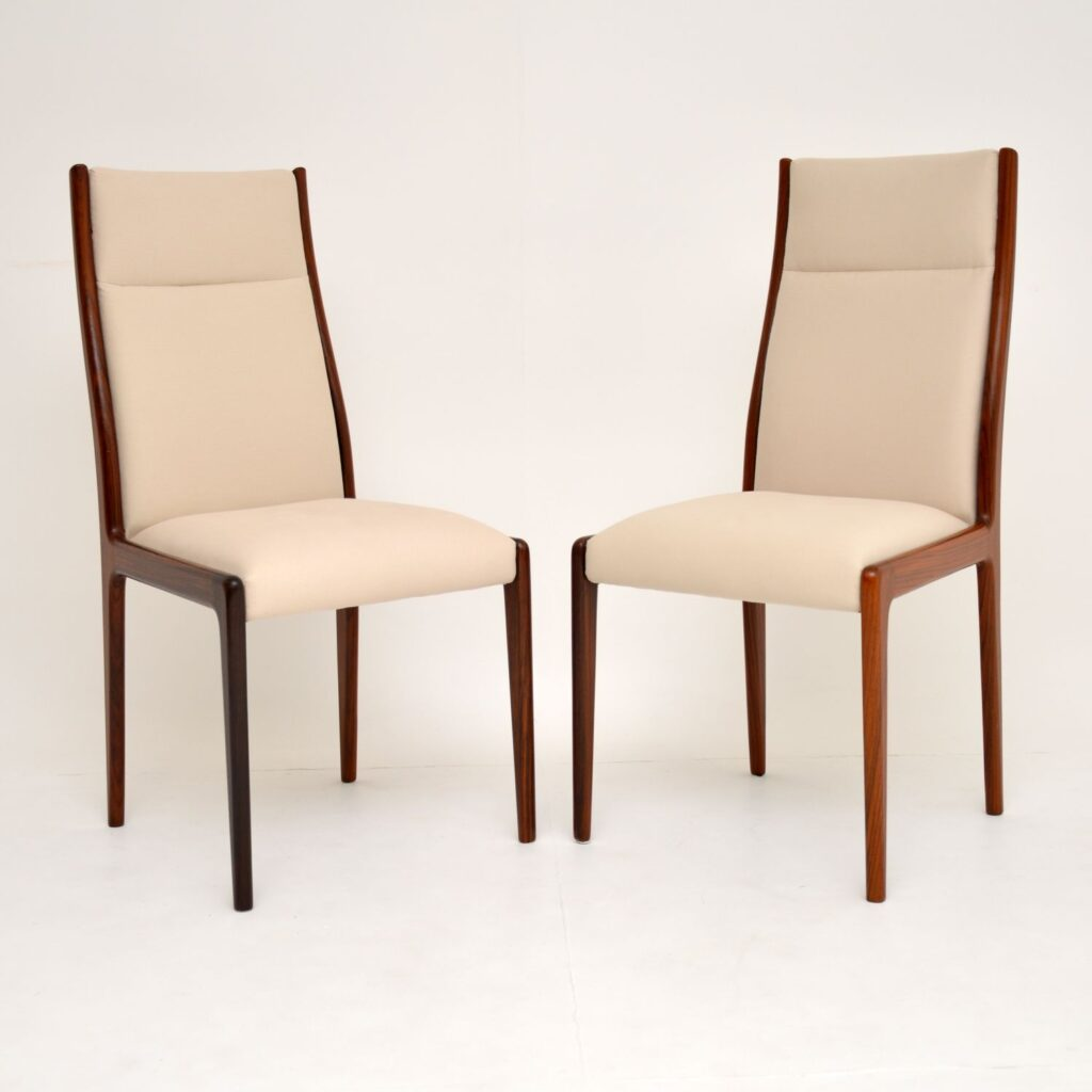 pair danish retro vintage rosewood dining chairs side chairs