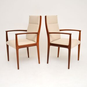 pair of retro vintage danish rosewood carver armchairs dining chairs