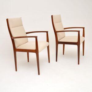 1960's Pair of Danish Vintage Rosewood Carver Armchairs