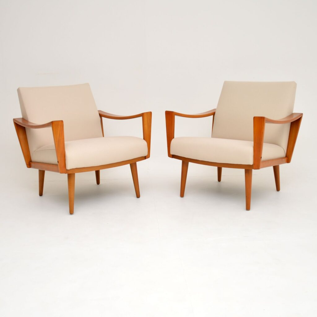 pair of retro vintage danish dutch armchairs