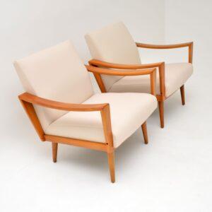 pair of retro vintage danish dutch armchairs