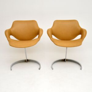 pair of retro vintage chrome steel leather chairs by boris tabacoff