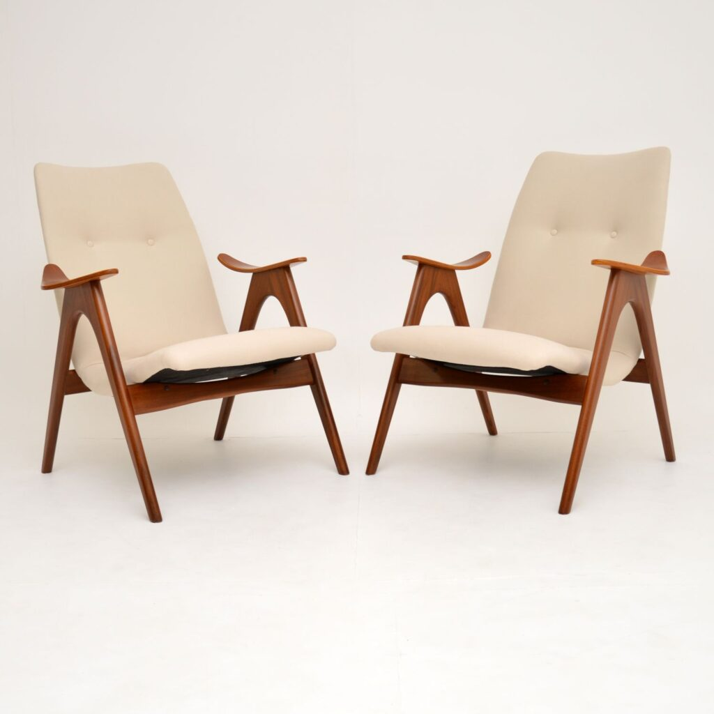 pair retro vintage dutch danish teak armchairs louis van teeffelen