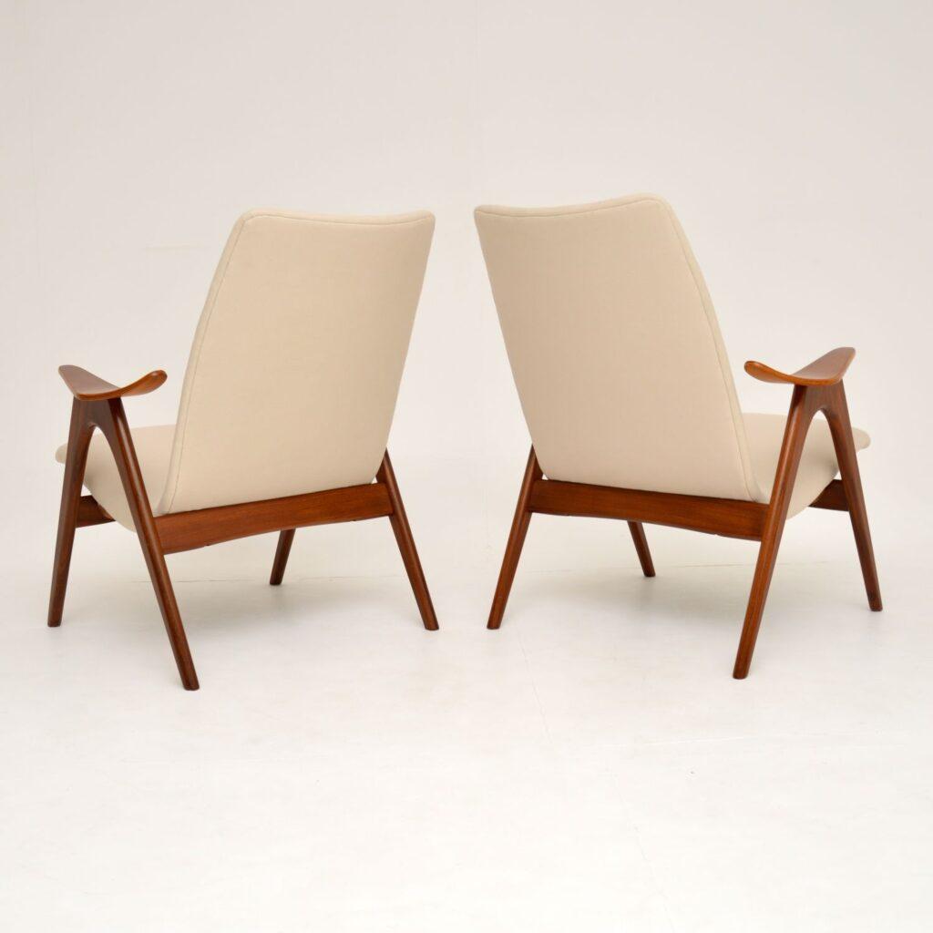 pair retro vintage dutch danish teak armchairs louis van teeffelen