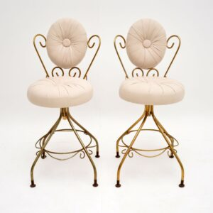pair brass french hollywood regency side swivel chairs
