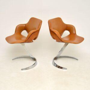 pair of retro vintage boris tabacoff scimitar leather chrome chairs armchairs
