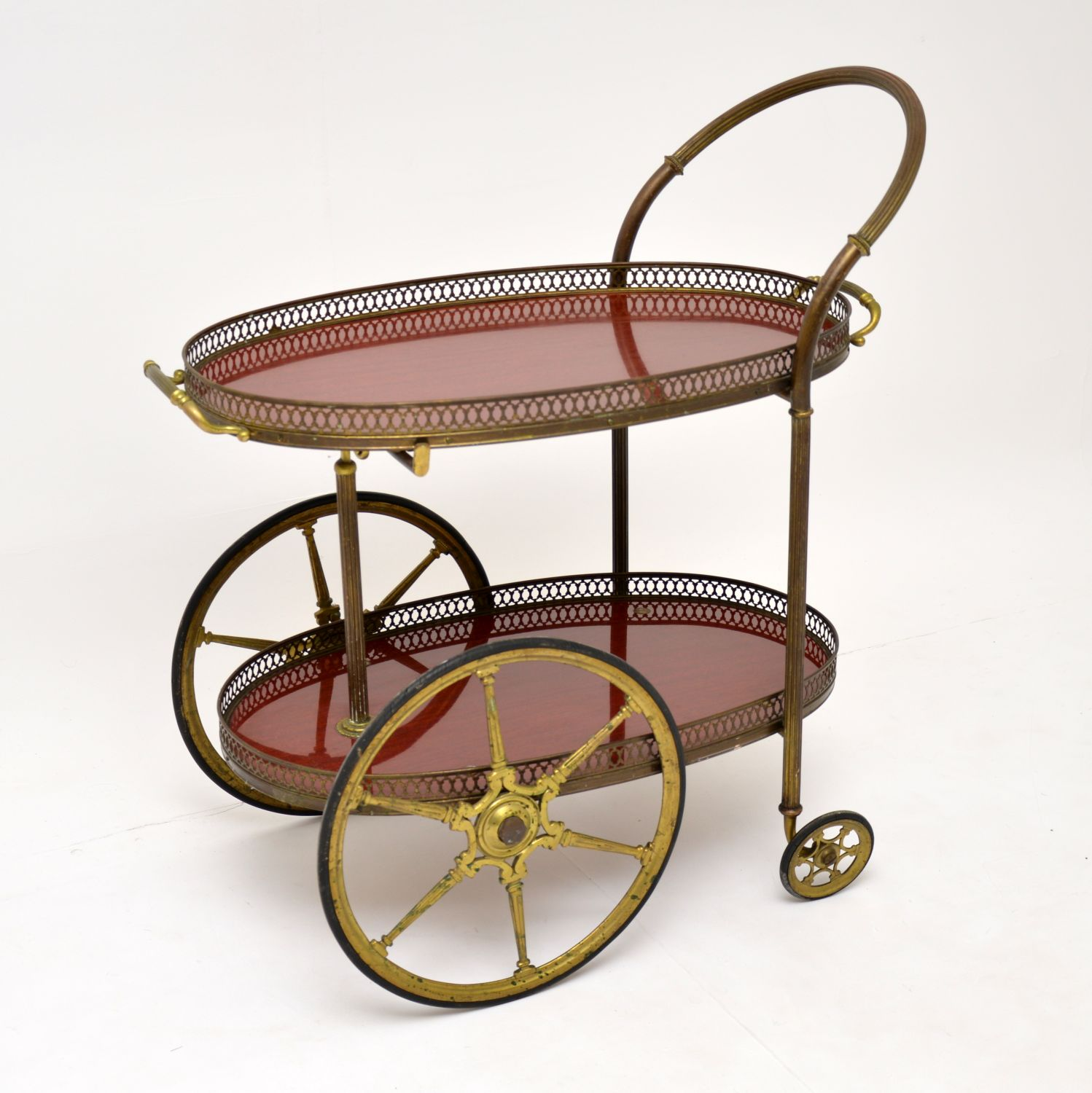 retro vintage french brass drinks trolley