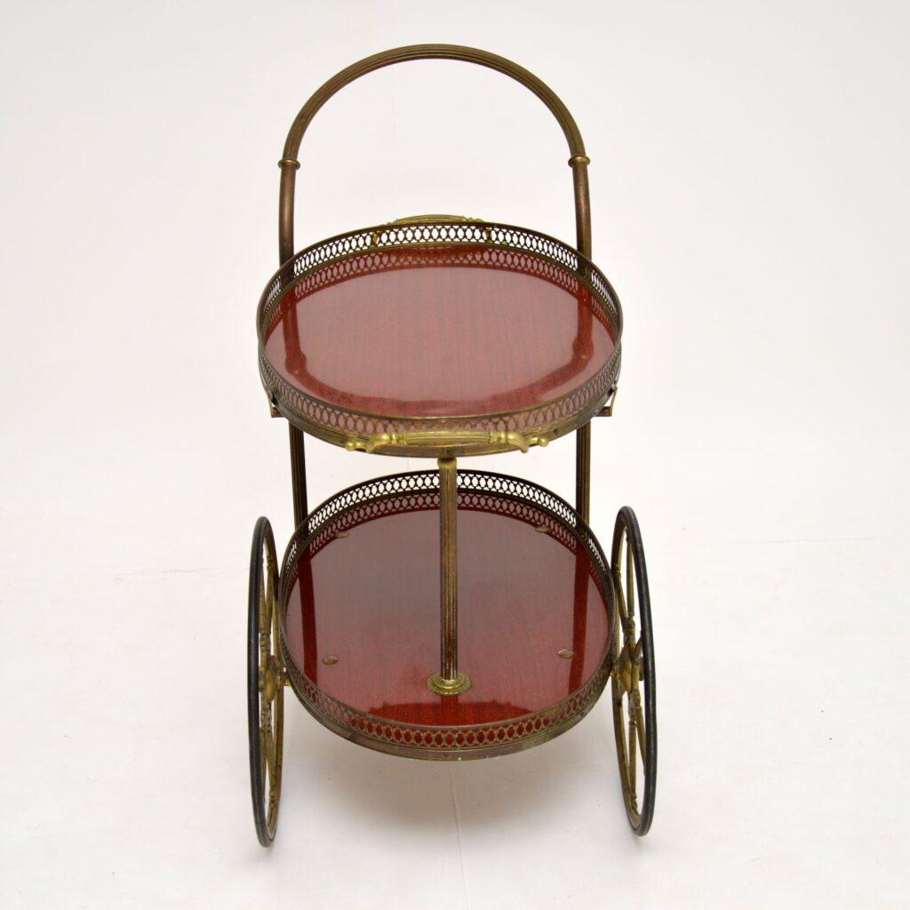 retro vintage french brass drinks trolley