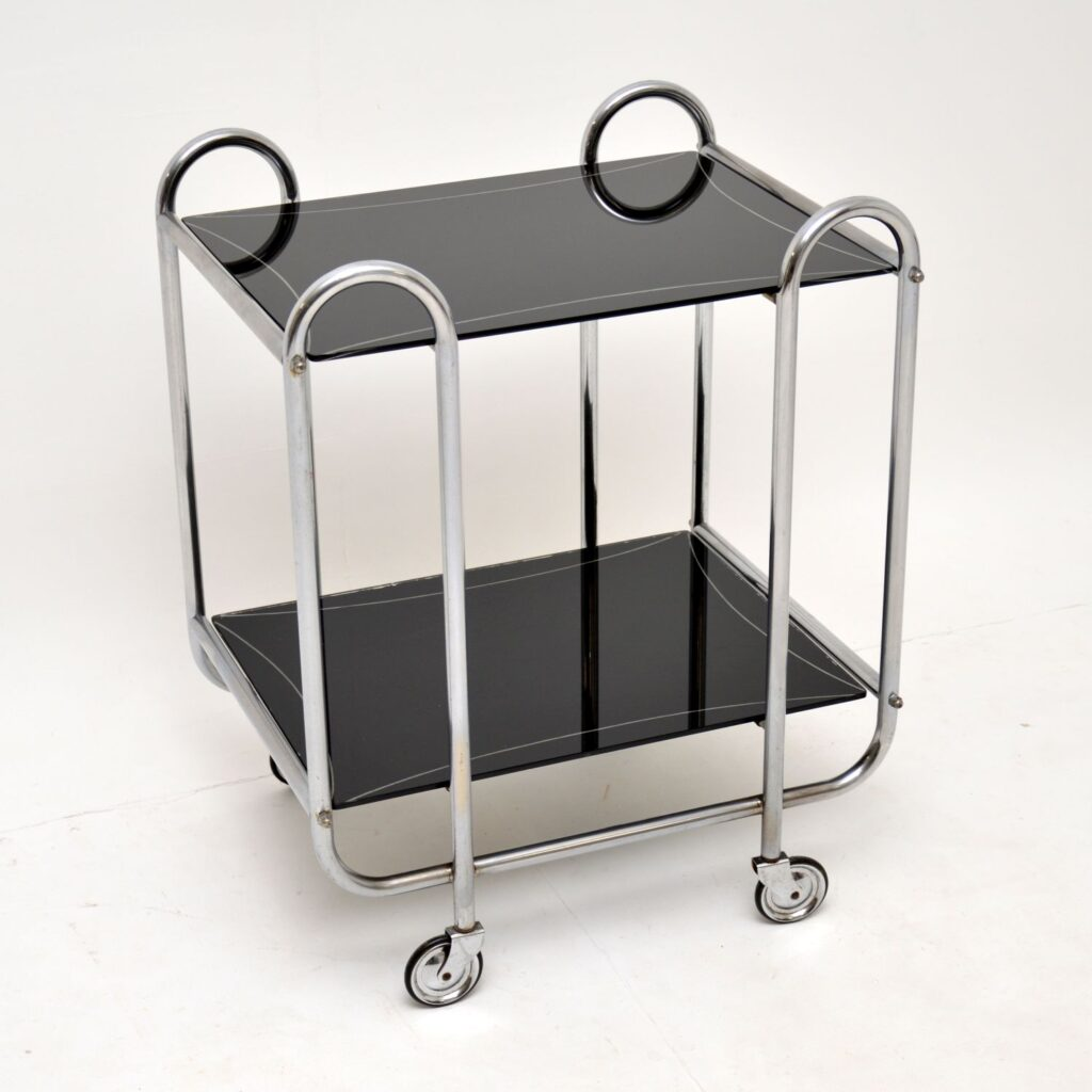 art deco retro vintage steel chrome glass drinks trolley