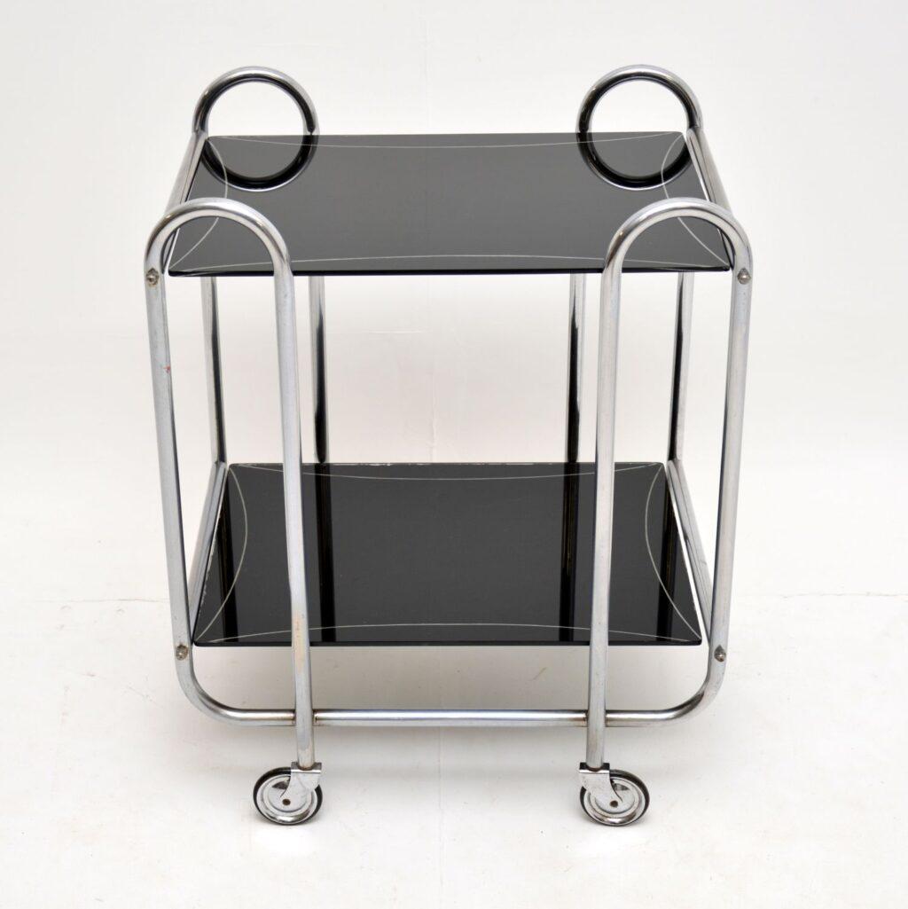 art deco retro vintage steel chrome glass drinks trolley
