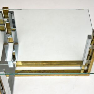 retro vintage italian brass chrome coffee table