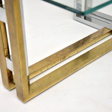 retro vintage italian brass chrome coffee table