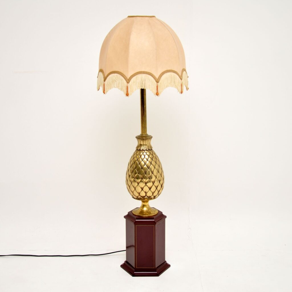 retro vintage french hollywood regency brass pineapple floor table lamp