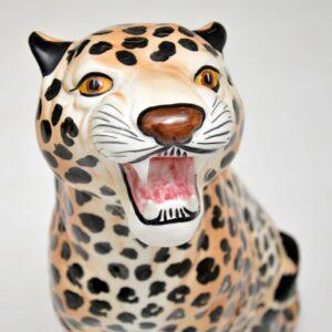 1970's Large Vintage Porcelain Leopard Sculpture