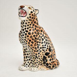 retro vintage italian poreclain leopard sculpture