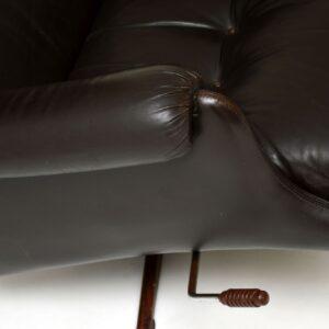 retro vintage danish leather swivel armchair