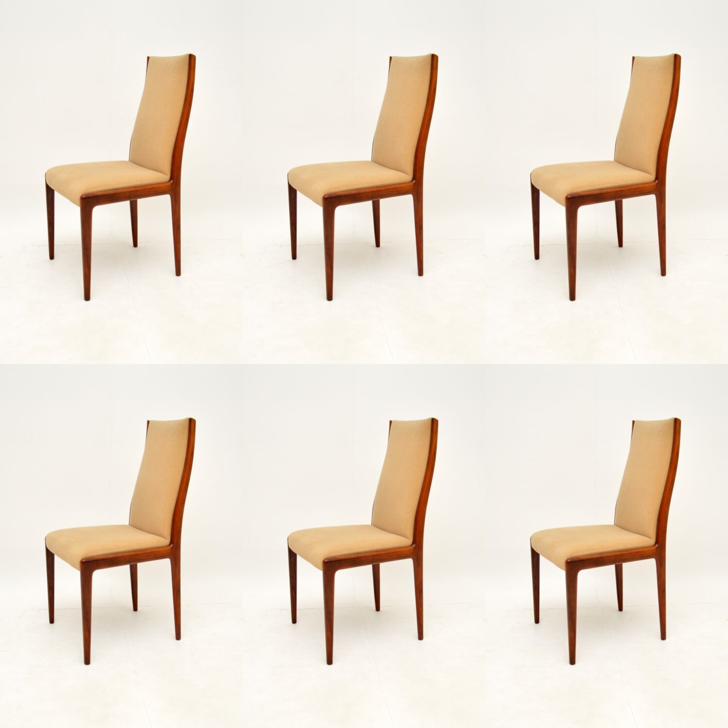 set of six danish rosewood retro vintage dining chairs