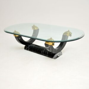 retro vintage antique marble brass glass coffee table