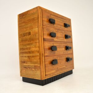 art deco solid oak chest of drawers