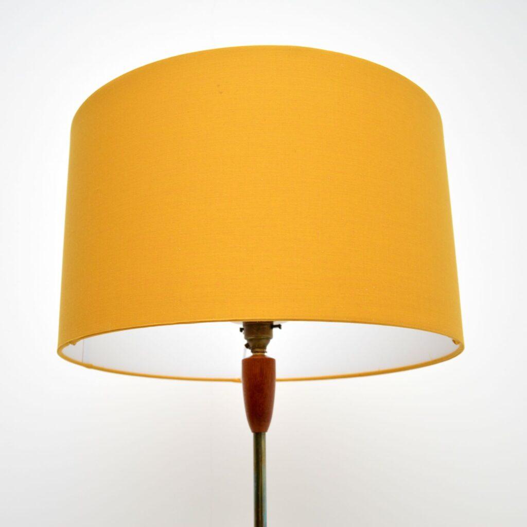 retro vintage teak brass danish floor lamp