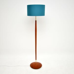 danish retro vintage teak brass lamp