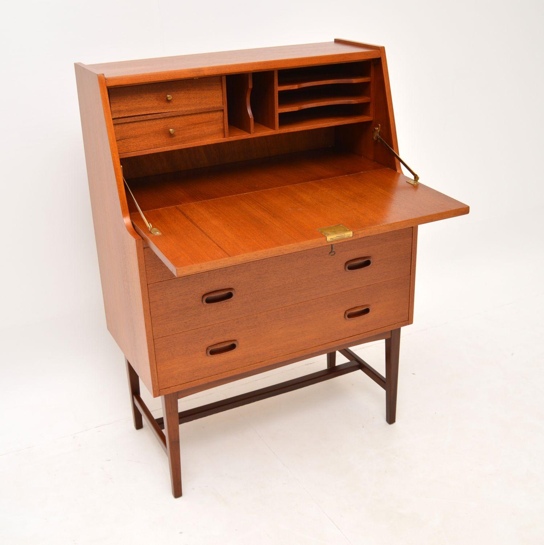 danish retro vintage teak writing bureau desk