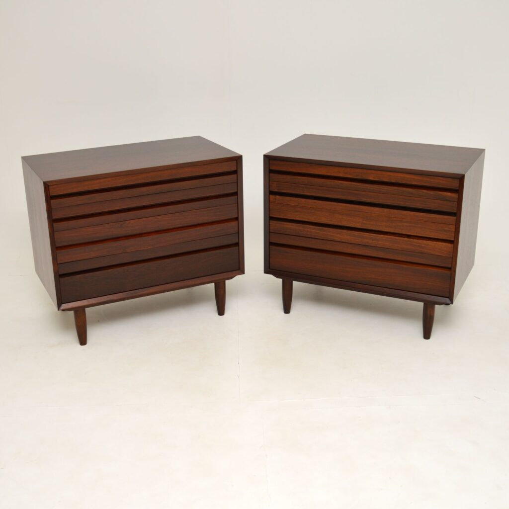 pair of danish retro vintage rosewood cabinets bedside chest of drawers