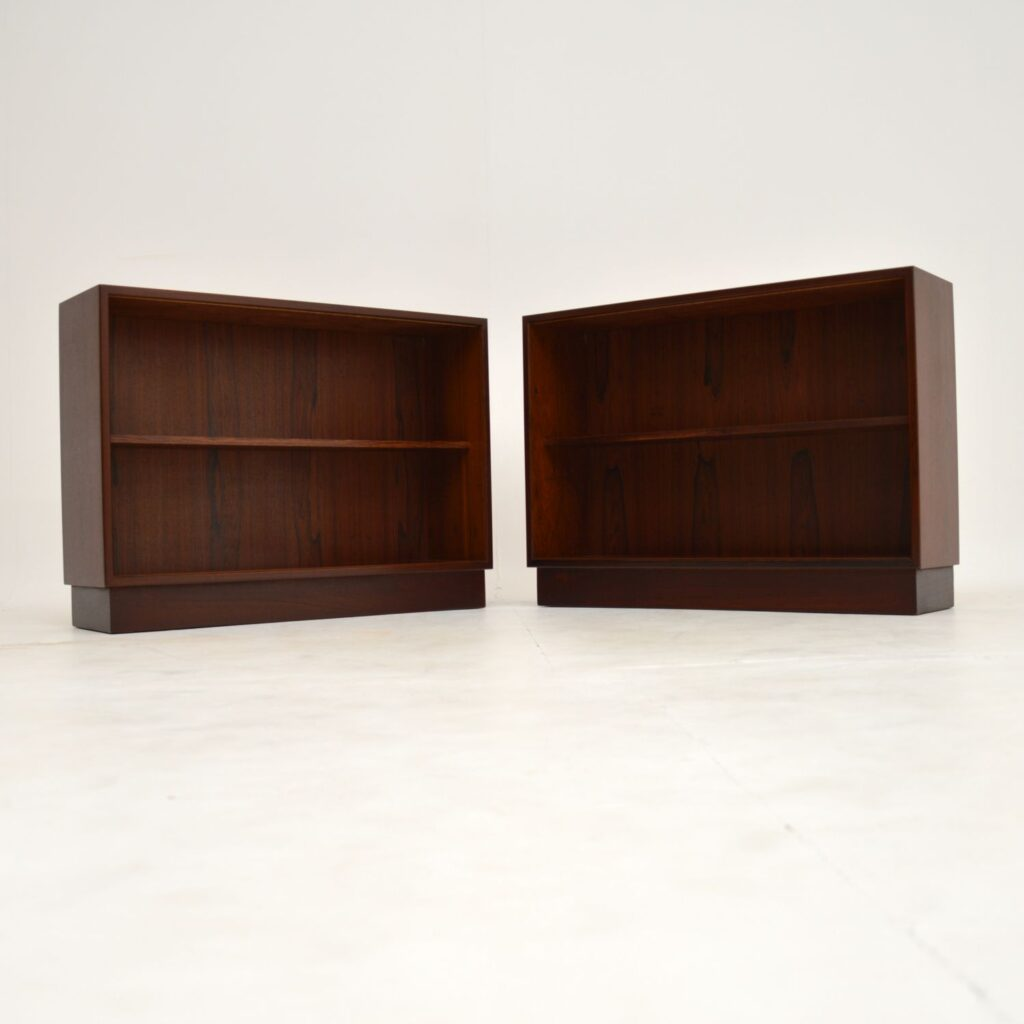 pair retro vintage danish open bookcase bookcases