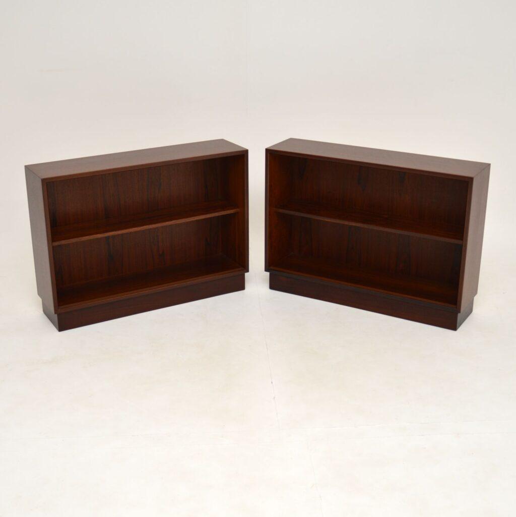 pair retro vintage danish open bookcase bookcases