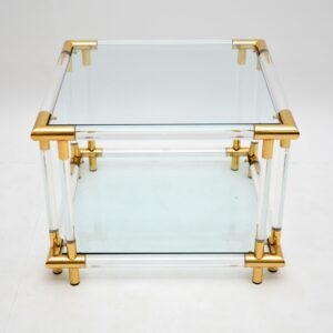 1970's Pair of Vintage Acrylic & Glass Side Tables