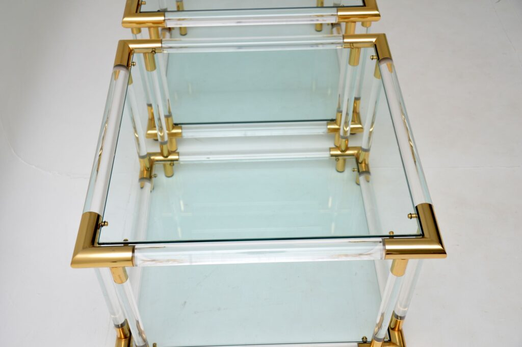 pair of retro vintage glass lucite acrylic side tables