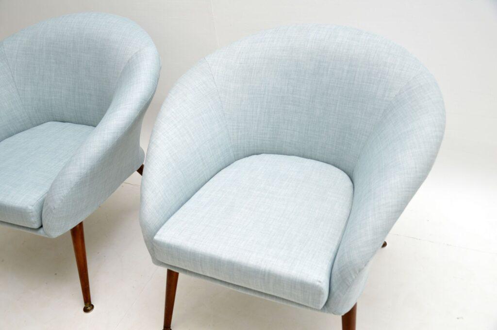 pair of retro vintage balloon back armchairs