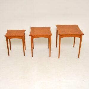 art deco retro vintage burr maple nest of tables
