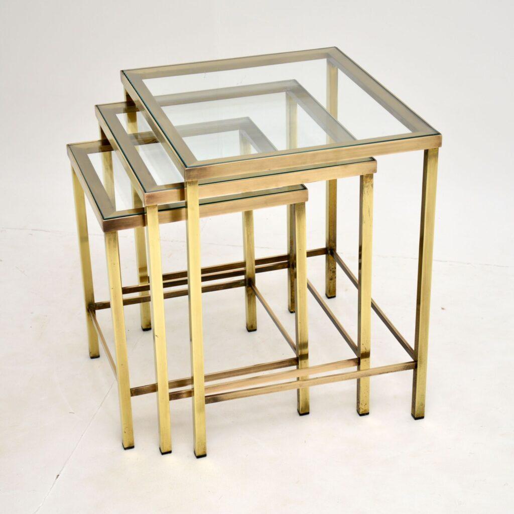 retro vintage brass nest of tables