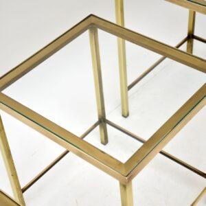 1960's Vintage Brass & Glass Nest of Tables