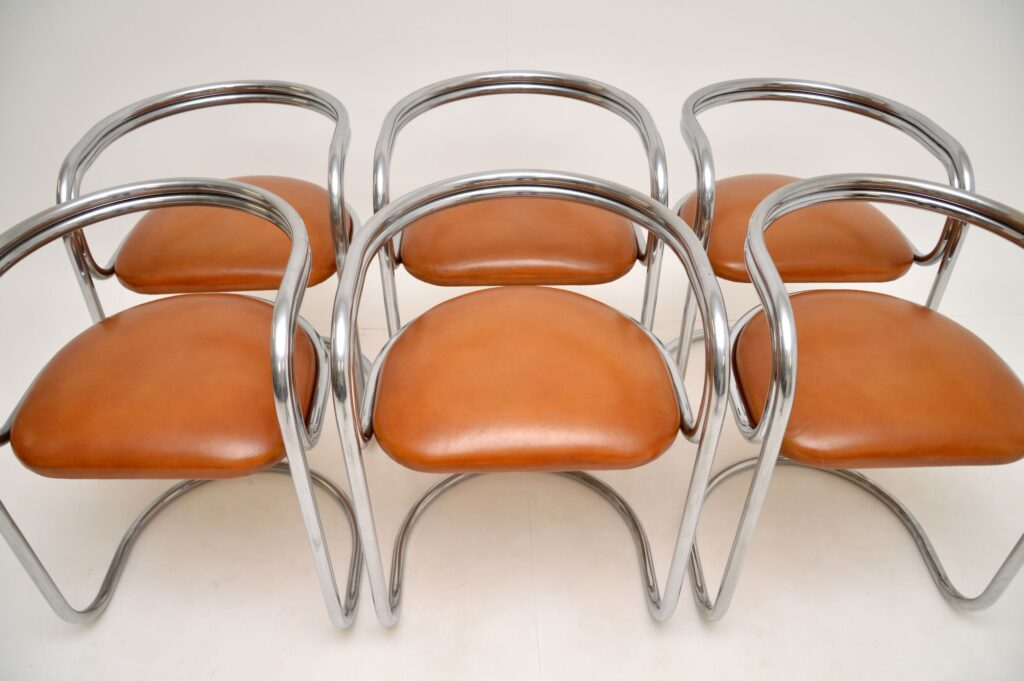 retro vintage chrome steel leather glass dining table chairs 1970s
