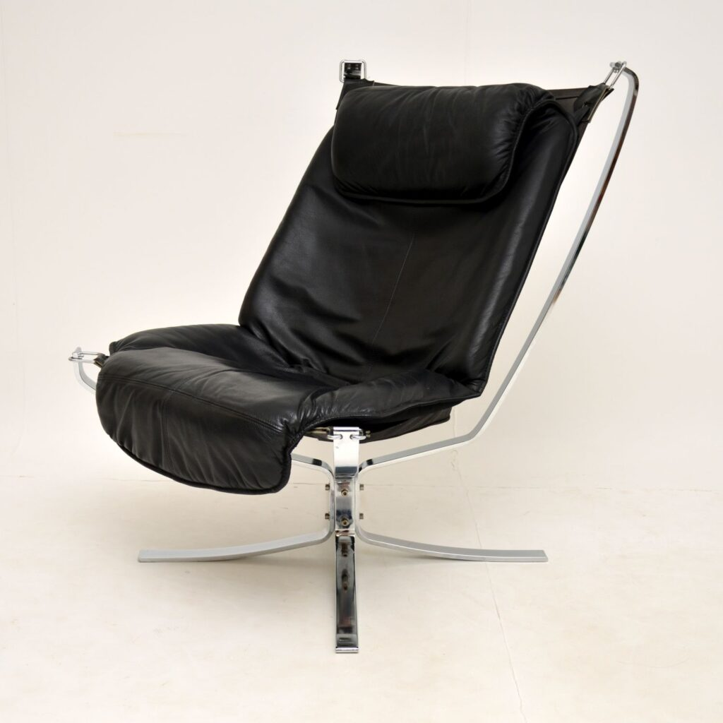 retro vintage leather chrome falcon chair sigurd ressell