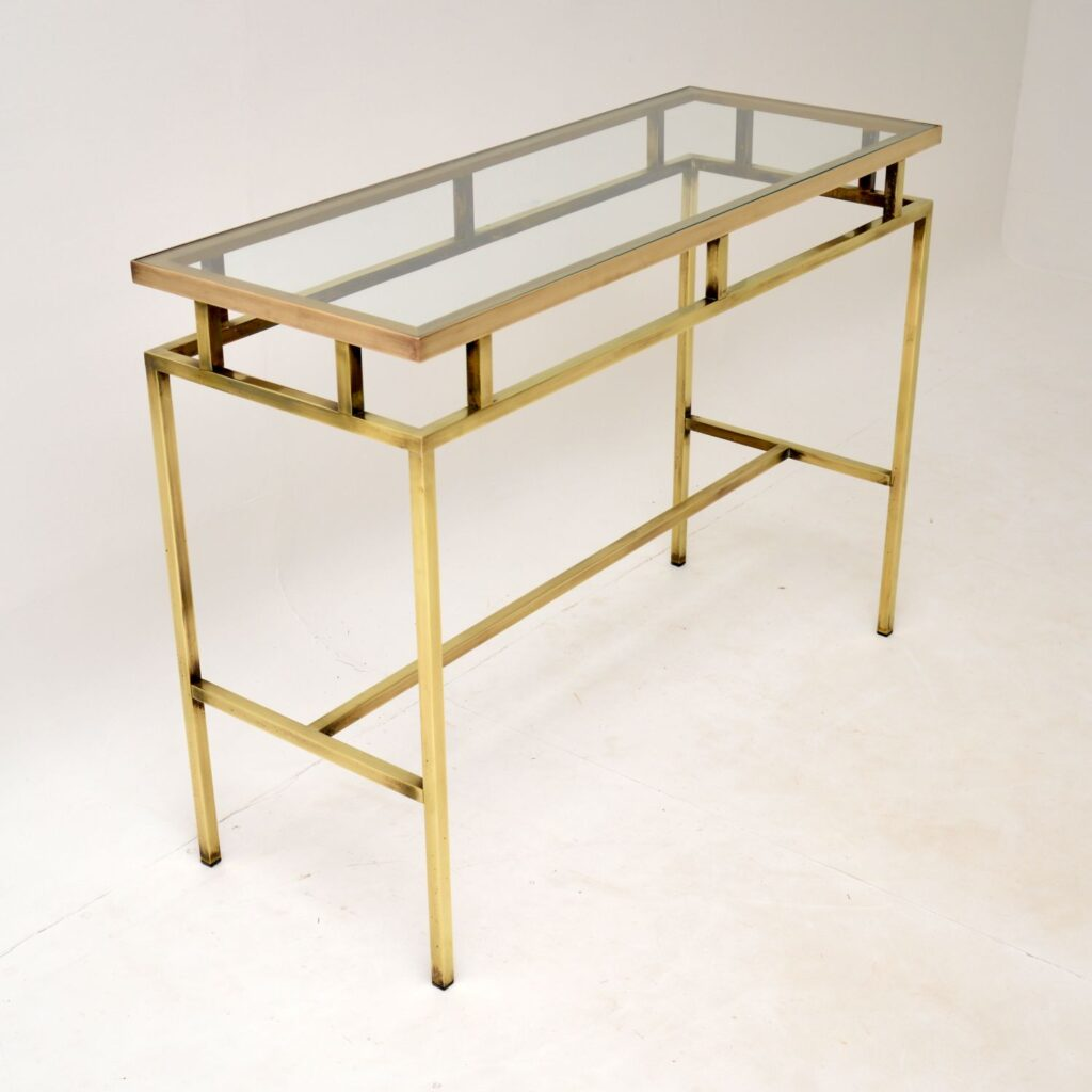 retro vintage brass glass console table