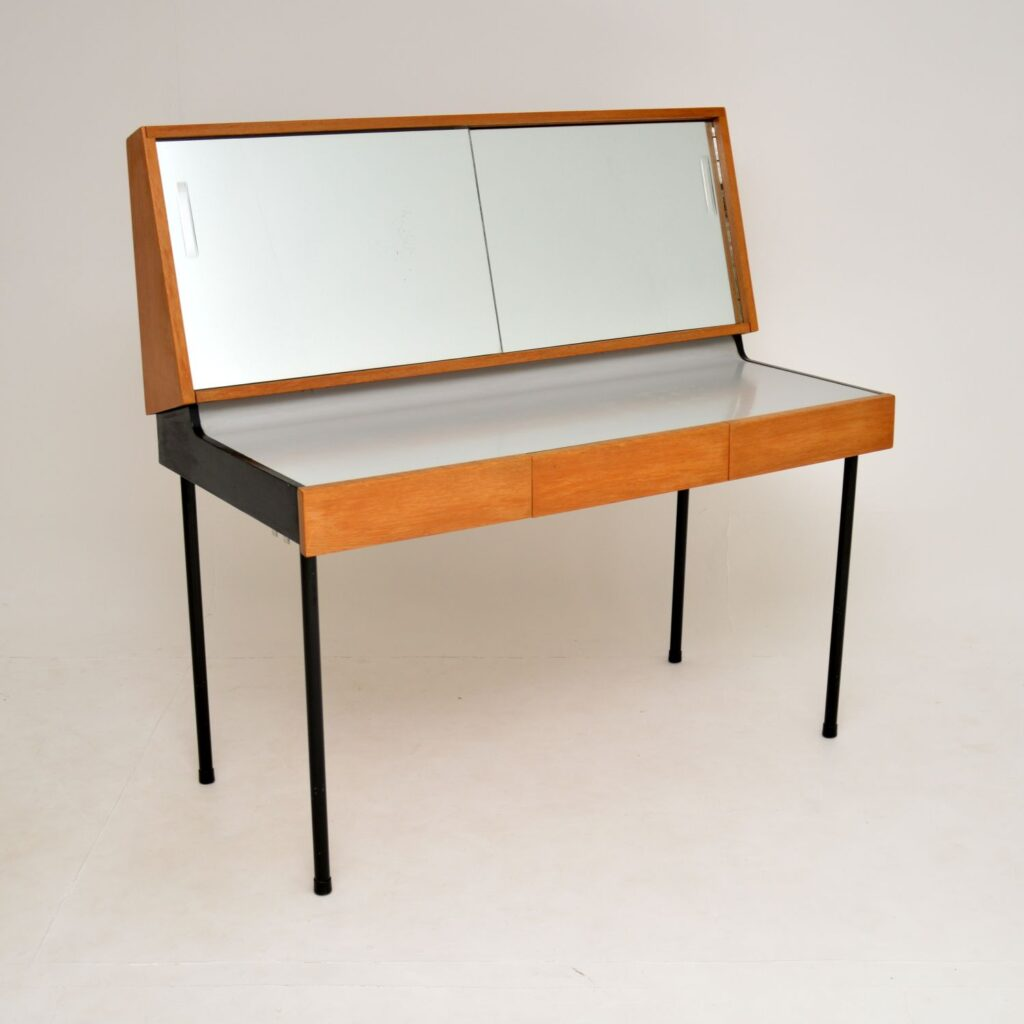 retro vintage mirrored oak dressing table