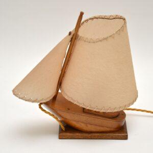 retro vintage mahogany oak teak boat table lamp