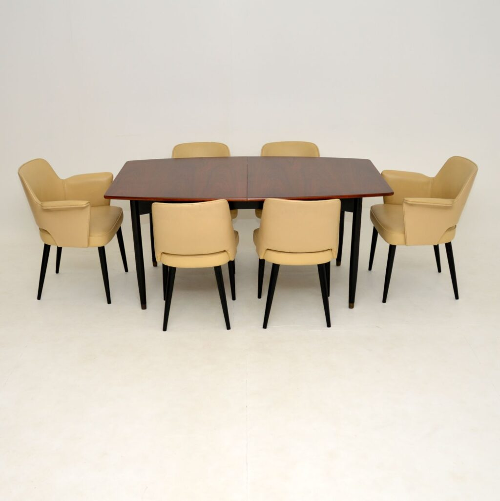 robin day hille stamford rosewood leather dining chairs table