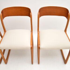 set of four 4 danish teak retro vintage dining chairs