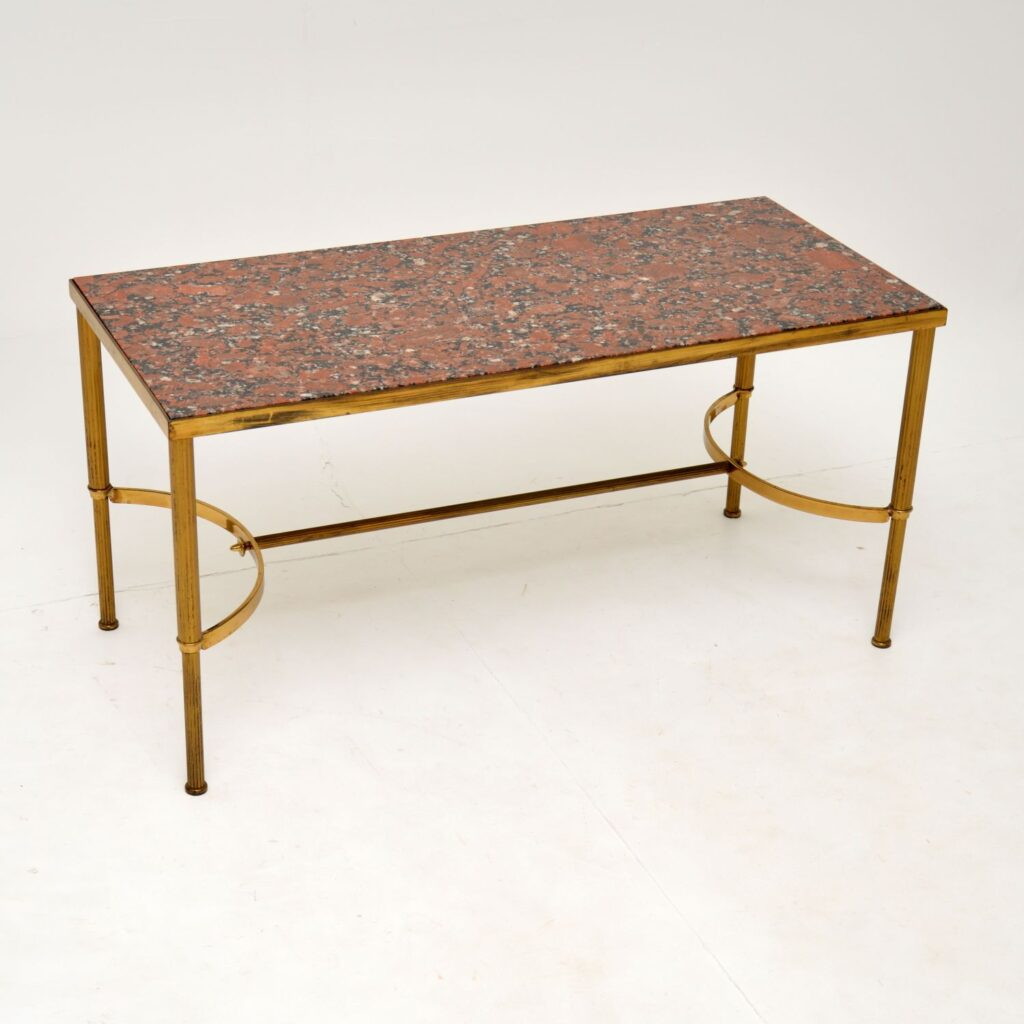 retro french vintage italian brass marble coffee table